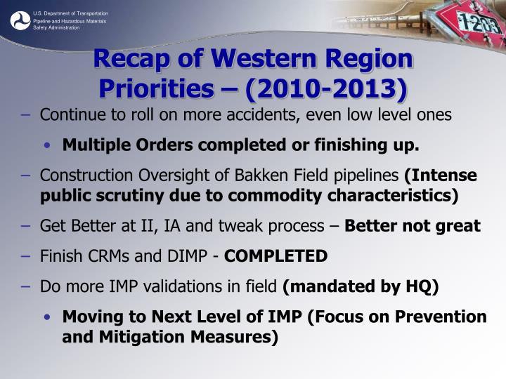 Recap of Western Region