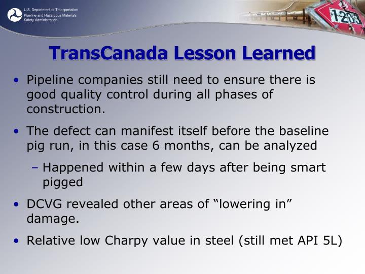 TransCanada Lesson Learned