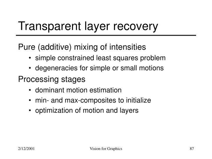 Transparent layer recovery
