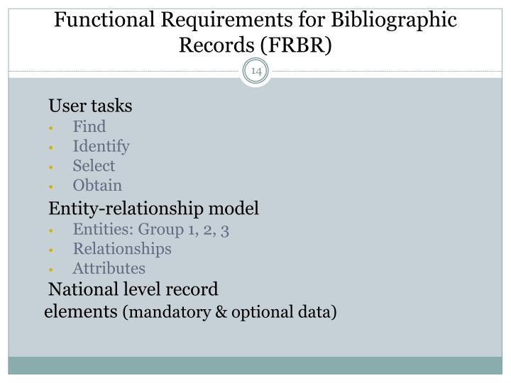 Functional Requirements for Bibliographic Records (FRBR)