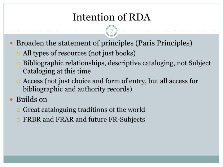 Intention of RDA