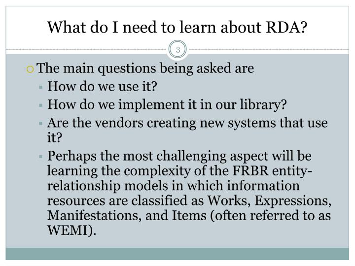 What do i need to learn about rda