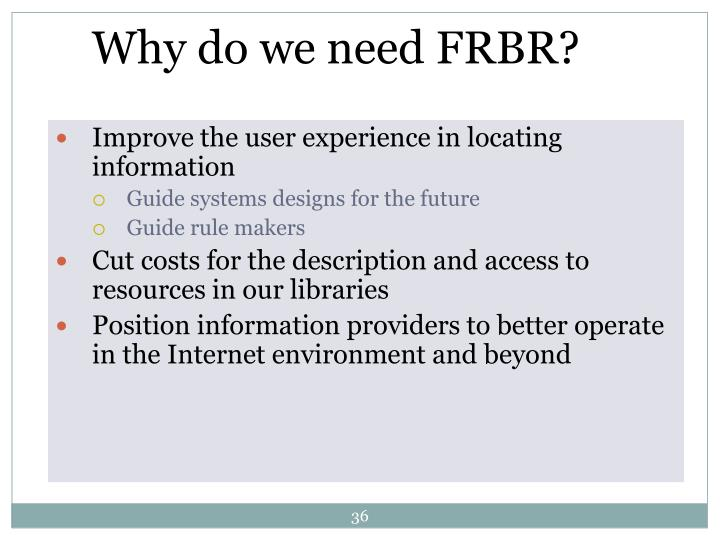 Why do we need FRBR?