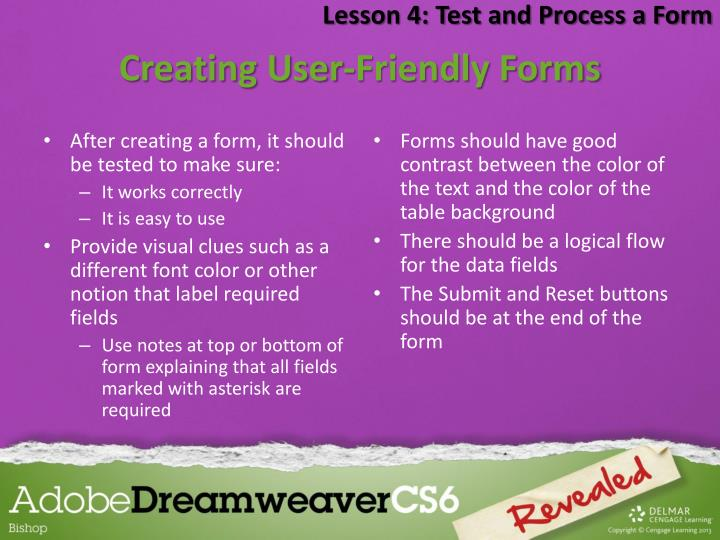 Lesson 4: Test and Process a Form