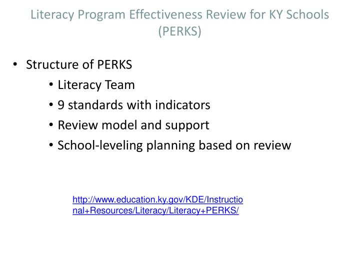 Literacy Program Effectiveness Review for KY Schools (PERKS)