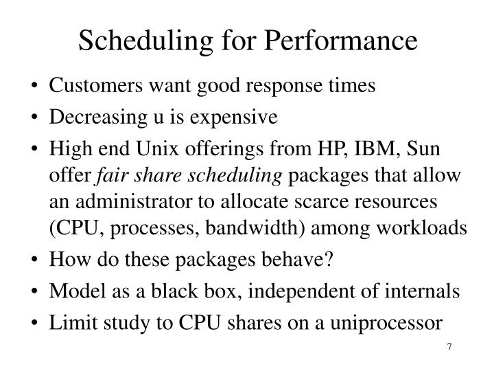 Scheduling for Performance