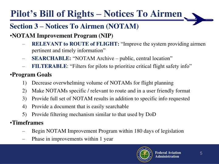 Pilot's Bill of Rights – Notices To Airmen