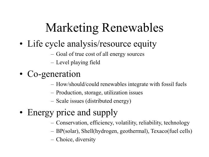 Marketing Renewables