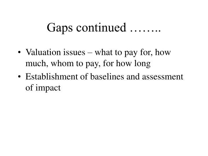 Gaps continued ……..