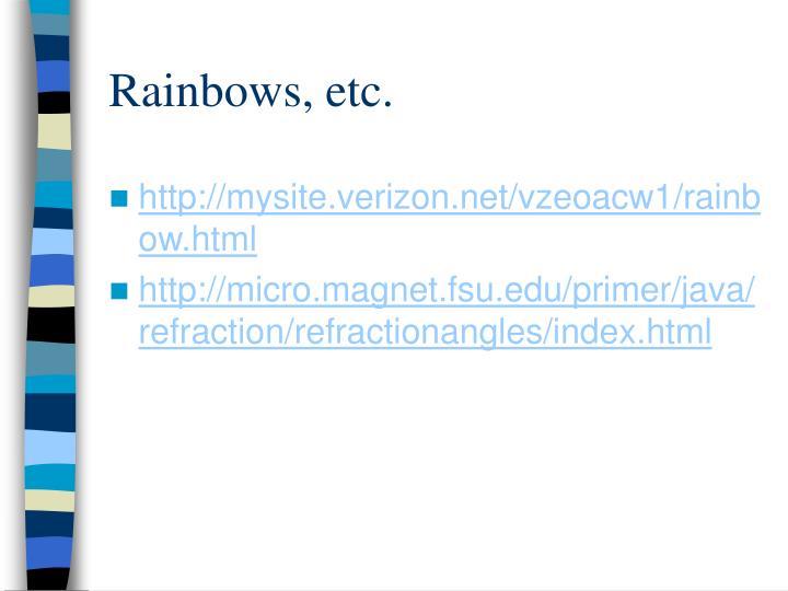 Rainbows, etc.