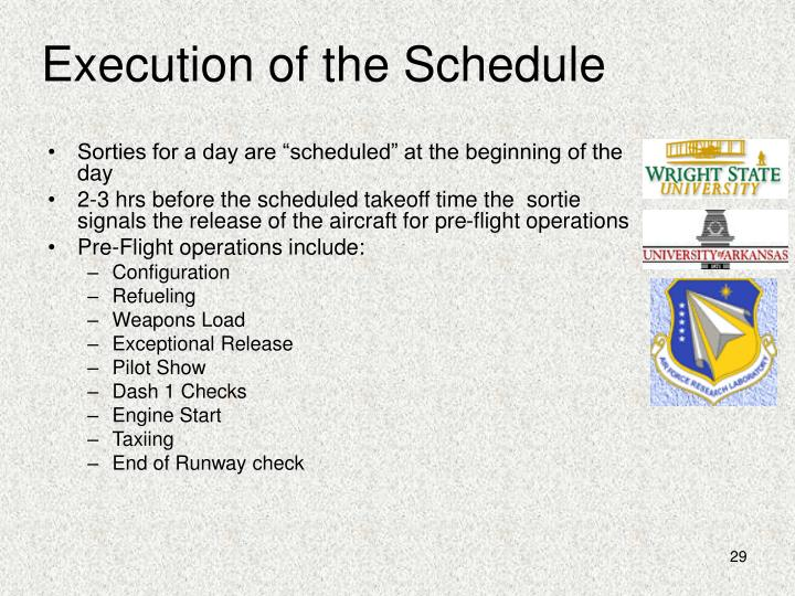 Execution of the Schedule