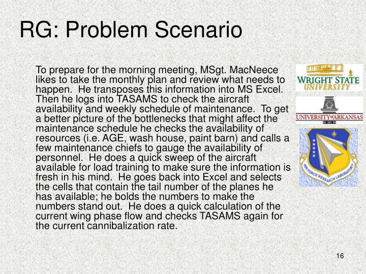 RG: Problem Scenario