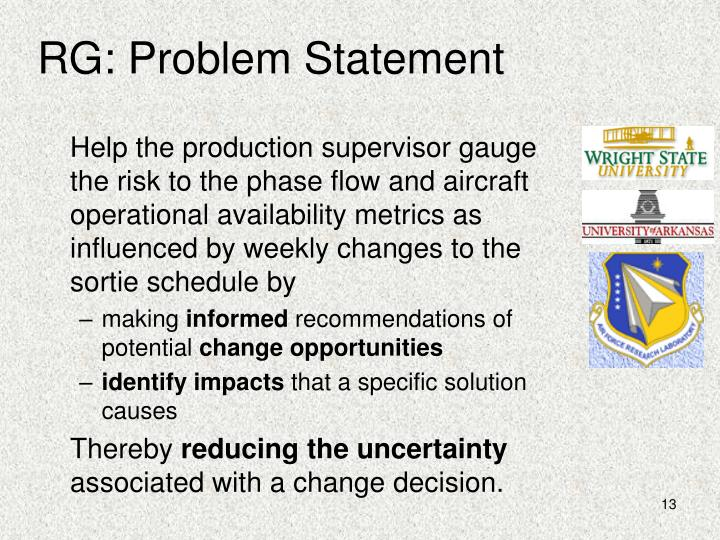 RG: Problem Statement