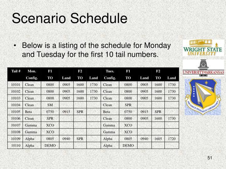 Scenario Schedule