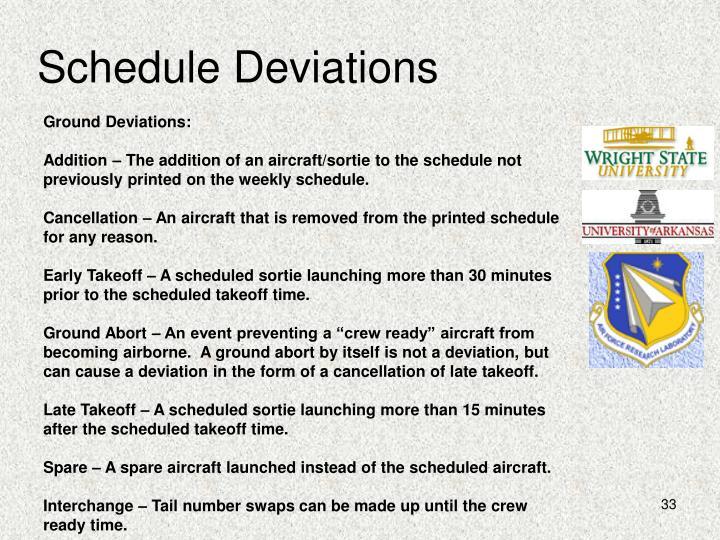 Schedule Deviations