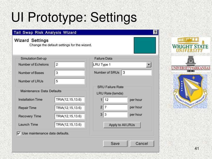 UI Prototype: Settings