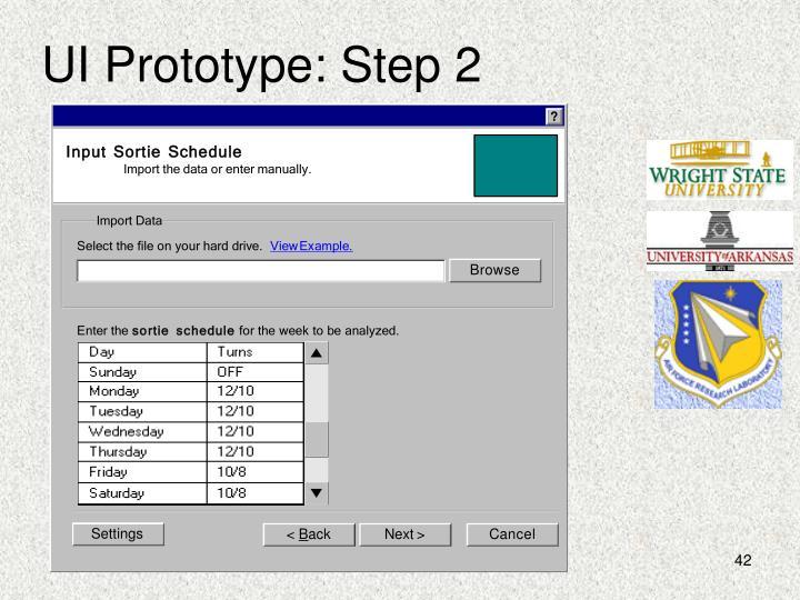 UI Prototype: Step 2