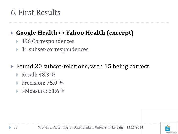 6. First Results