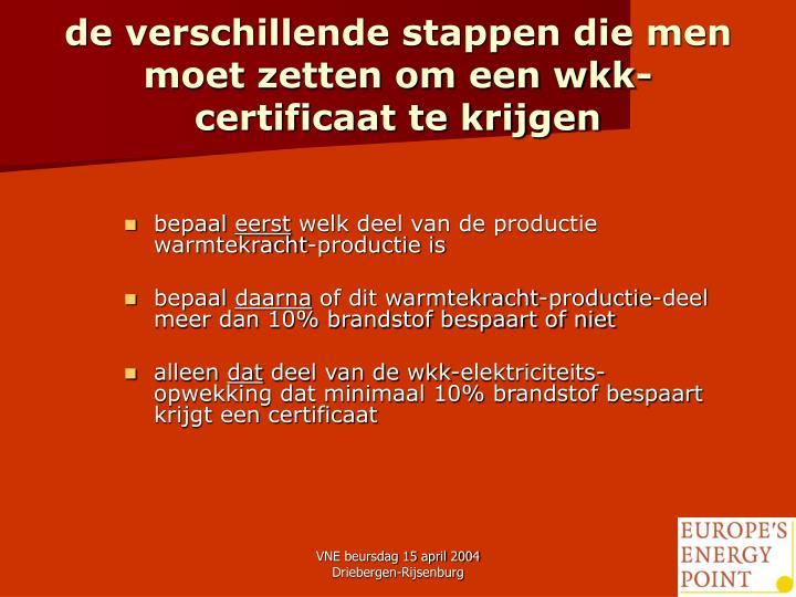 de verschillende stappen die men moet zetten om een wkk-certificaat te krijgen