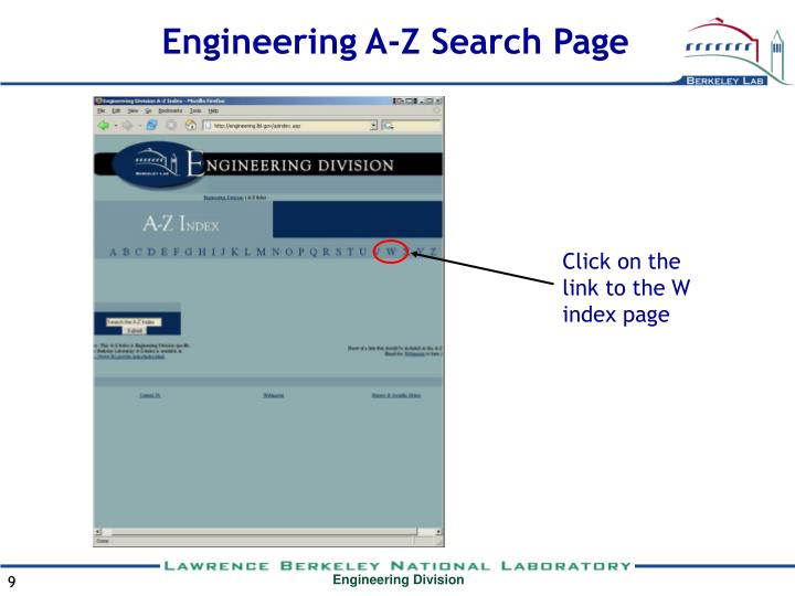 Engineering A-Z Search Page
