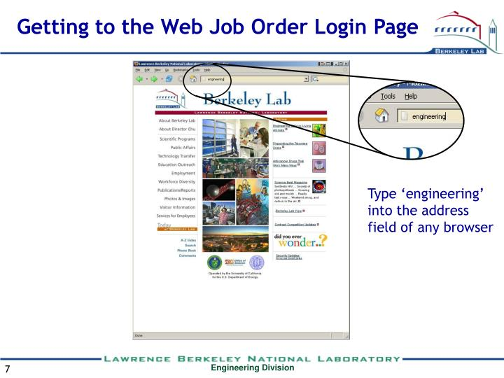 Getting to the Web Job Order Login Page