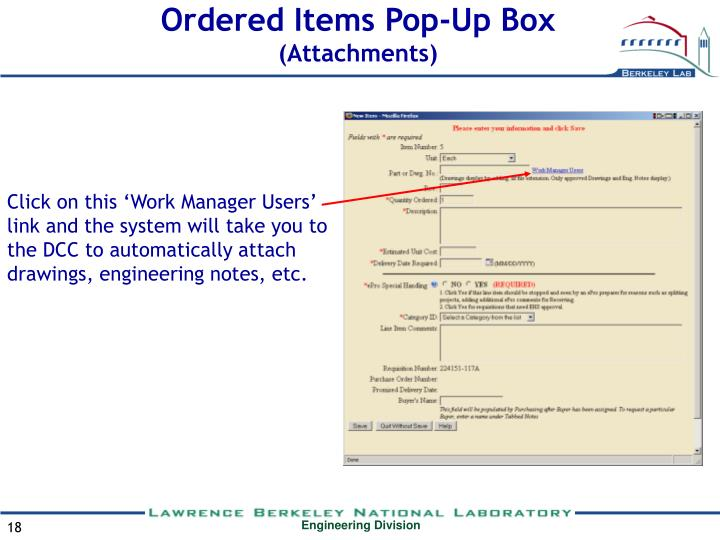 Ordered Items Pop-Up Box