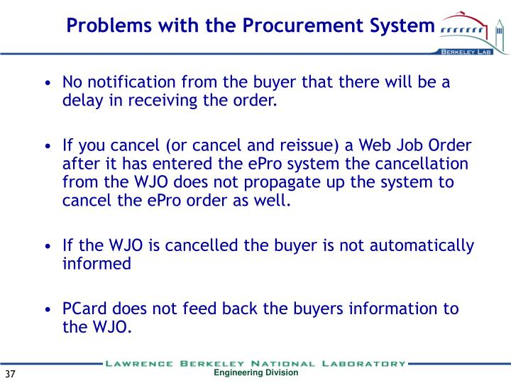 Problems with the Procurement System