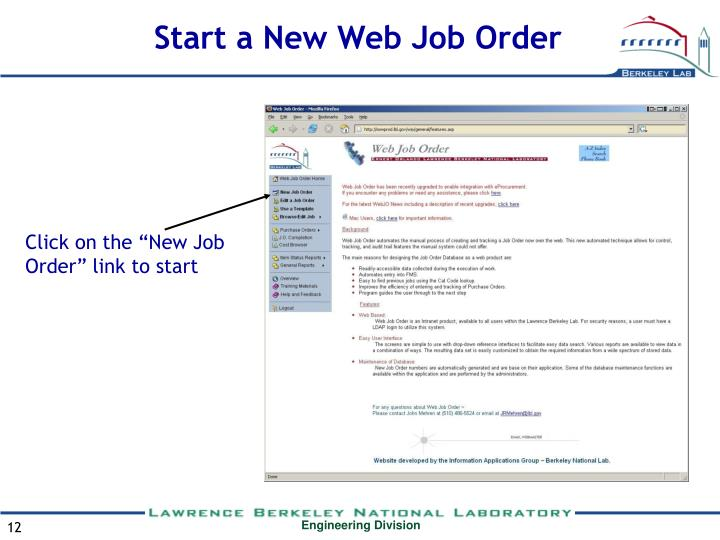 Start a New Web Job Order
