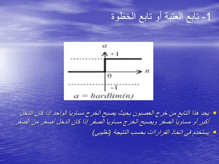 1- تابع العتبة أو تابع الخطوة