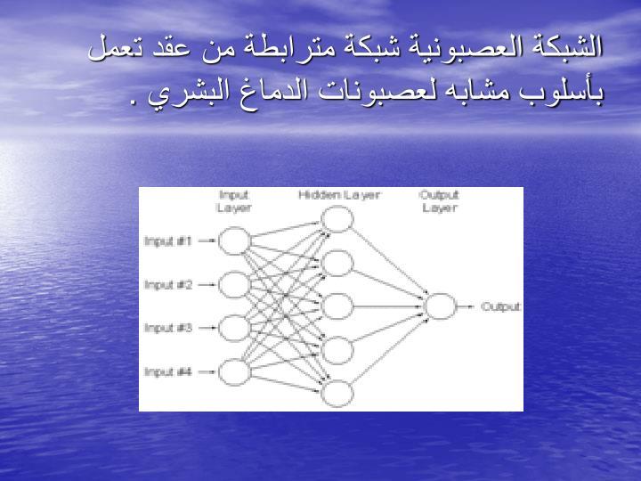الشبكة العصبونية شبكة مترابطة من عقد تعمل بأسلوب مشابه لعصبونات الدماغ البشري .