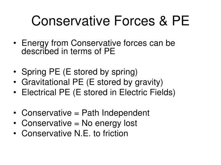 Conservative Forces & PE