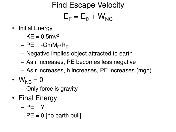 Find Escape Velocity