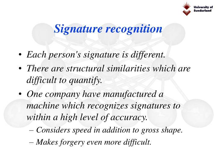 Signature recognition