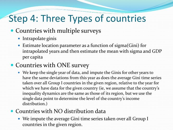 Step 4: Three Types of countries