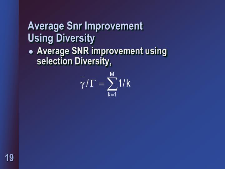 Average Snr Improvement