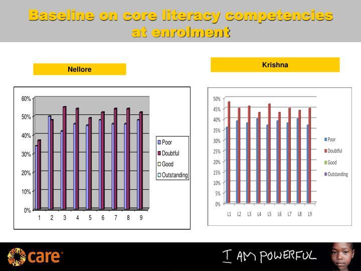 Baseline on core literacy competencies at enrolment