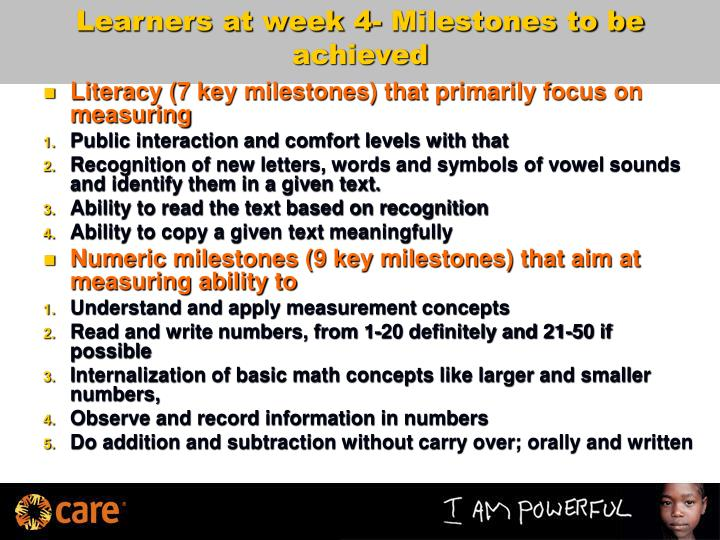 Learners at week 4- Milestones to be achieved