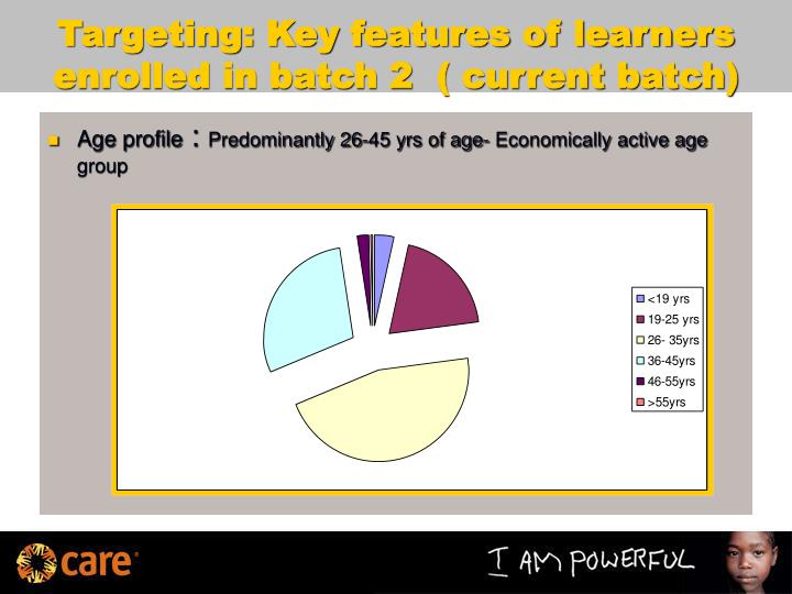 Targeting: Key features of learners enrolled in batch 2  ( current batch)