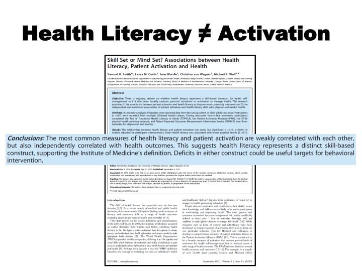 Health Literacy ≠
