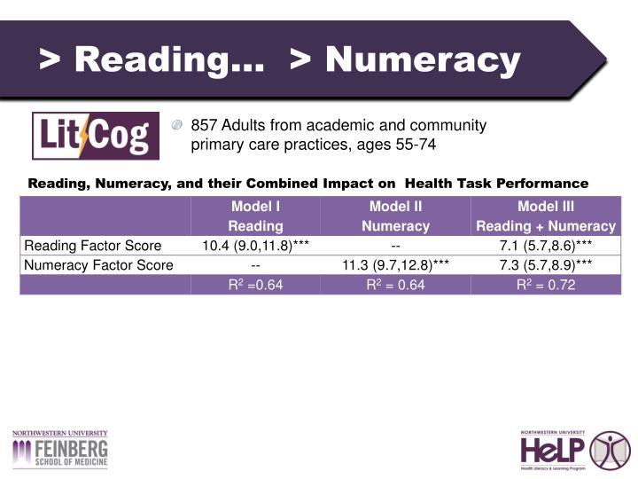 > Reading…  > Numeracy