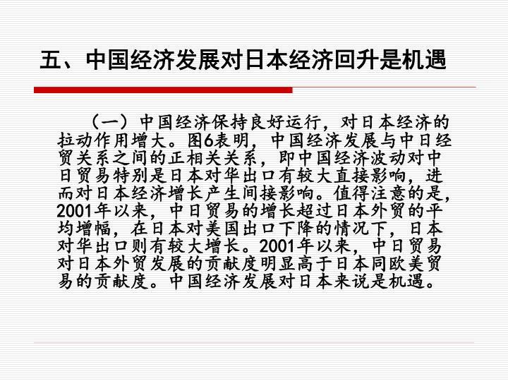 五、中国经济发展对日本经济回升是机遇