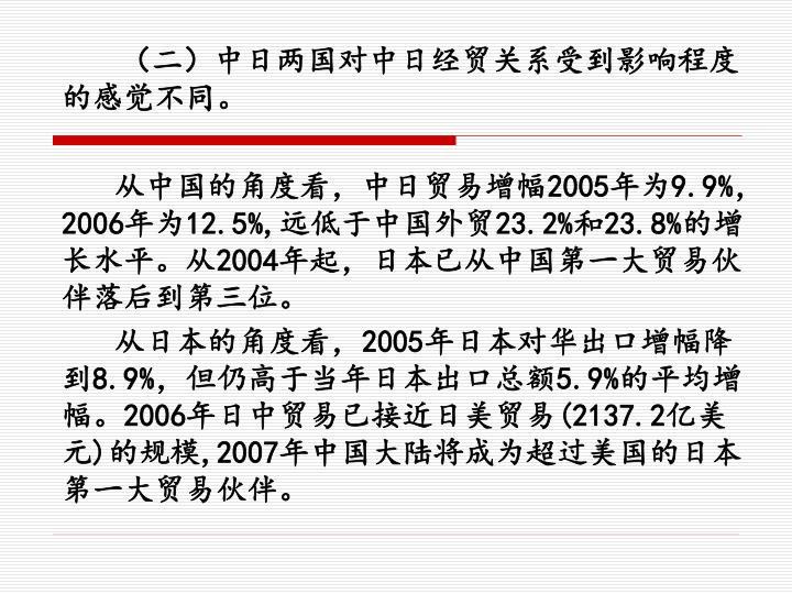 (二)中日两国对中日经贸关系受到影响程度的感觉不同。