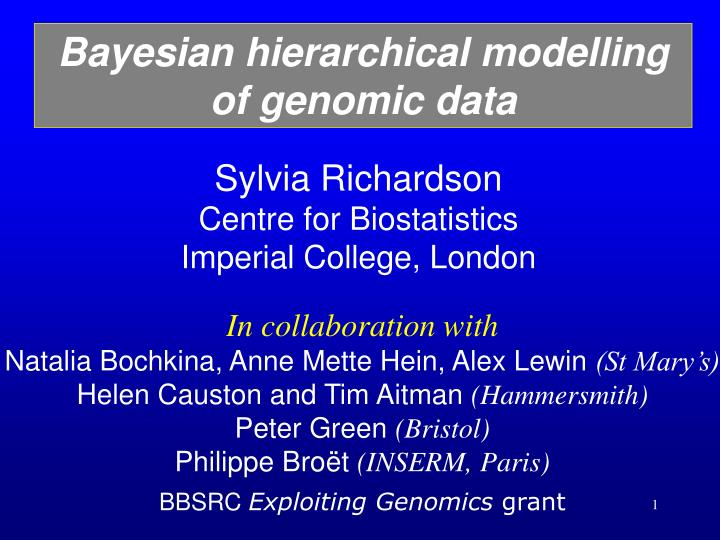 Bayesian hierarchical modelling