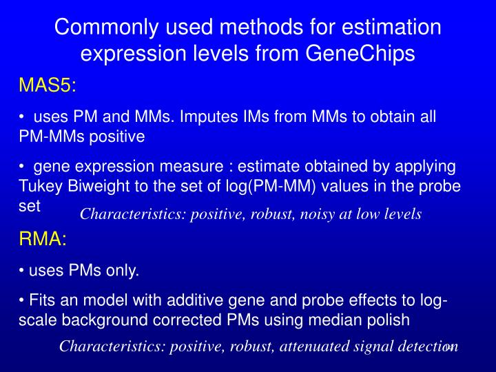Commonly used methods for estimation expression levels from GeneChips