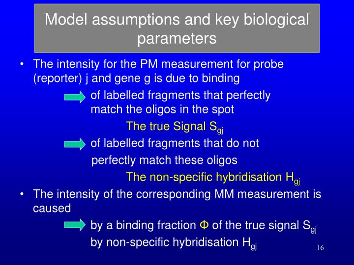 Model assumptions and key biological parameters