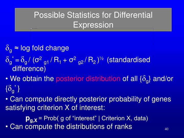 Possible Statistics for Differential Expression