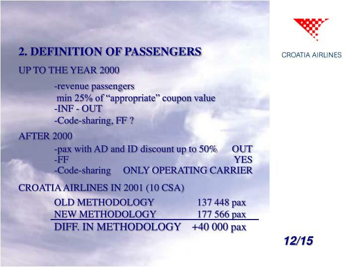 2. DEFINITION OF PASSENGERS