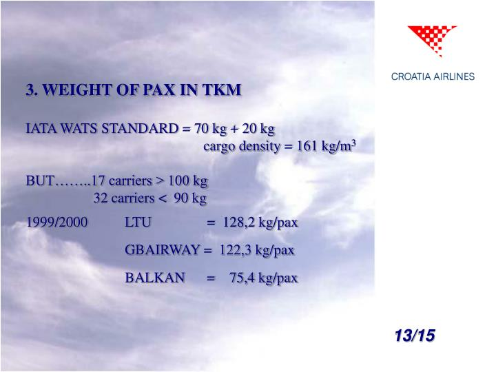 3. WEIGHT OF PAX IN TKM