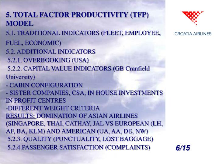 5. TOTAL FACTOR PRODUCTIVITY (TFP) MODEL