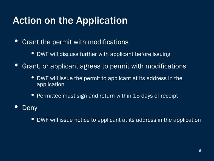 Action on the Application